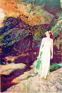 woman by waterfall