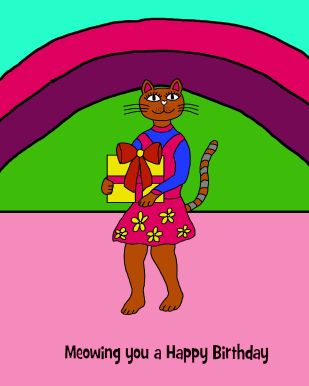09 Happy Bday Cat with present 8x10